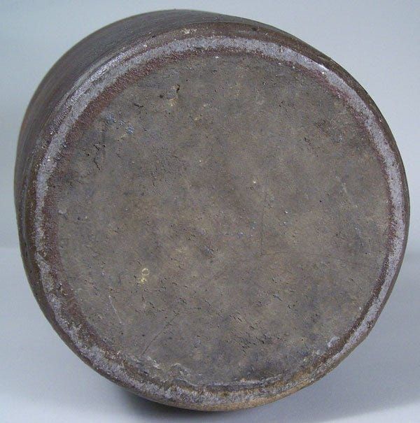 """Lot 18: Middle Tennessee stoneware jar, signed in script """"G W Dunn"""", sine wave incising"""