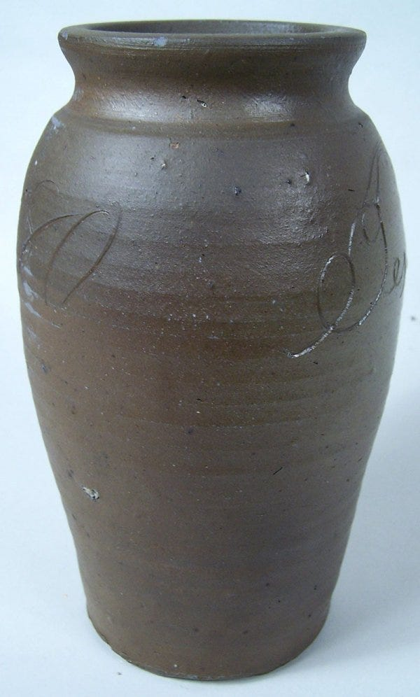 Lot 62: Southern stoneware jar, Jessee Vestal, Washington Co., Virginia, signed and dated