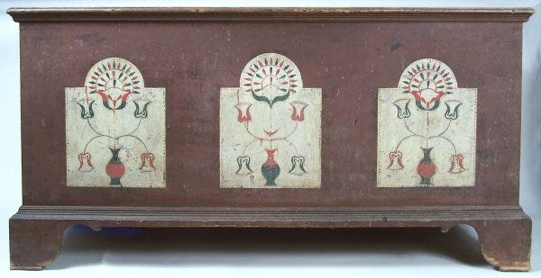 Lot 70: An exceptional and rare paint decorated Wythe County, Virginia blanket chest