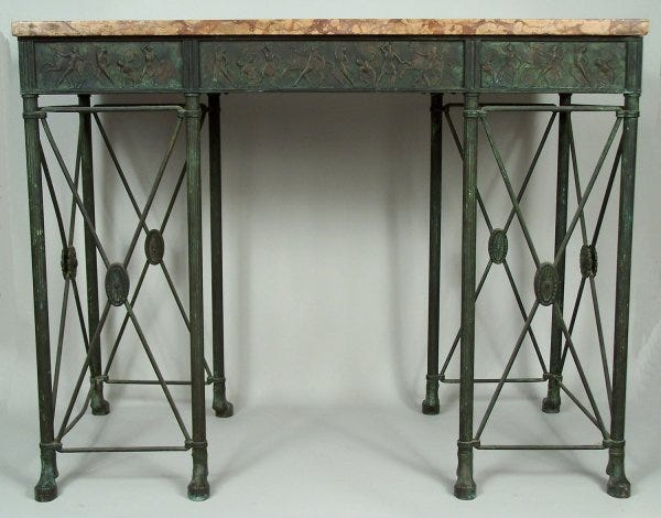 Lot 186: An important and rare Oscar Bach classical console table and mirror, signed