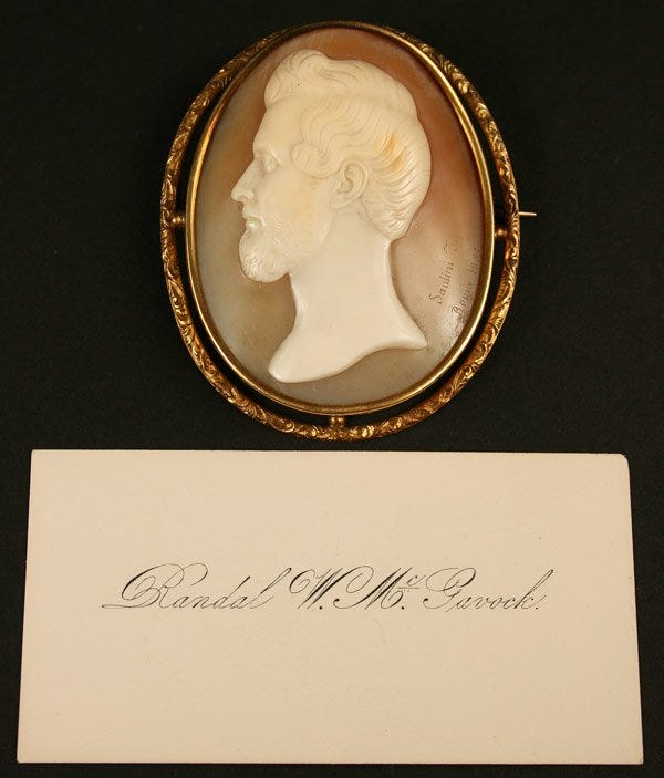 Lot 233: Cameo brooch of Randal McGavock by Saulini 1851