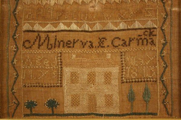 Lot 57: East Tennessee sampler, Minerva Carmack 1845
