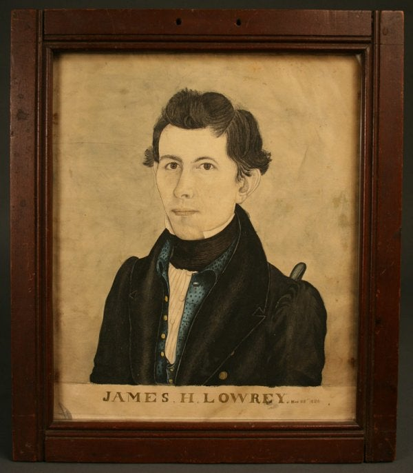 Lot 84: Important Southern watercolor of James Lowrey, 1836