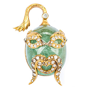 Lot 33: Guilio Nardi 73 ct Emerald & Dia. Pendant / Pin