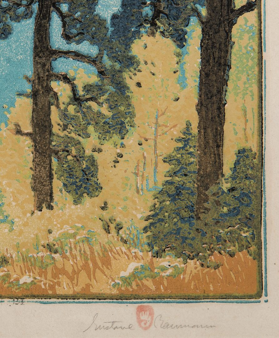 Lot 615: Gustave Baumann Color Woodcut, Pine and Aspen