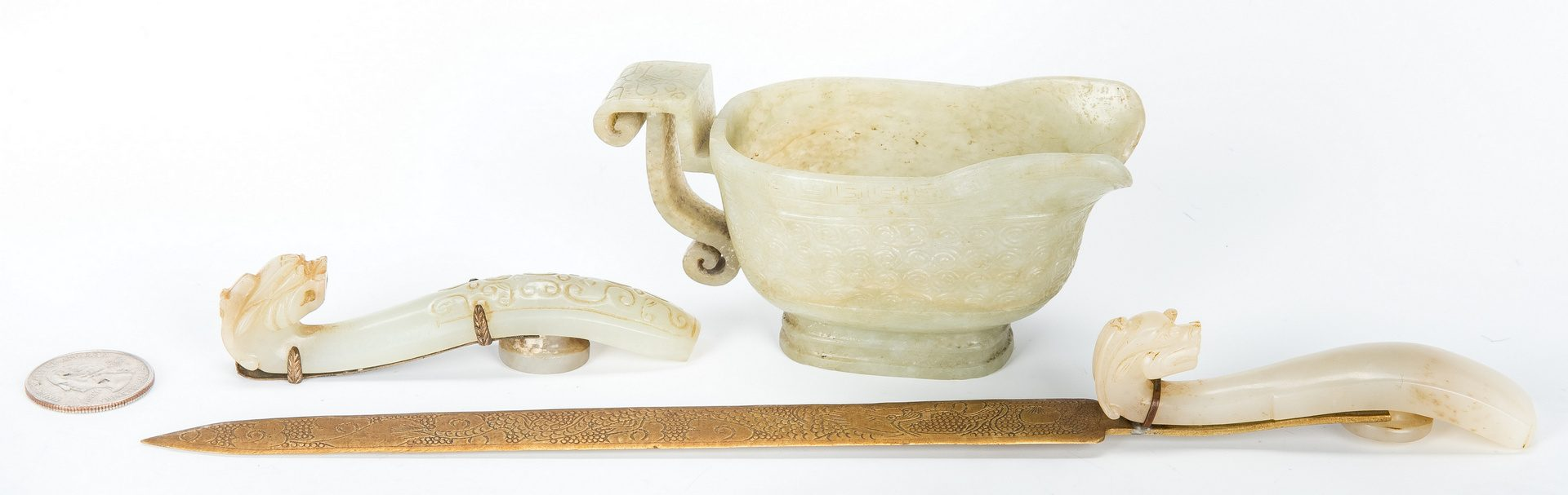 Lot 2: Archaic form Jade Libation Cup & 2 Jade Belt Hooks