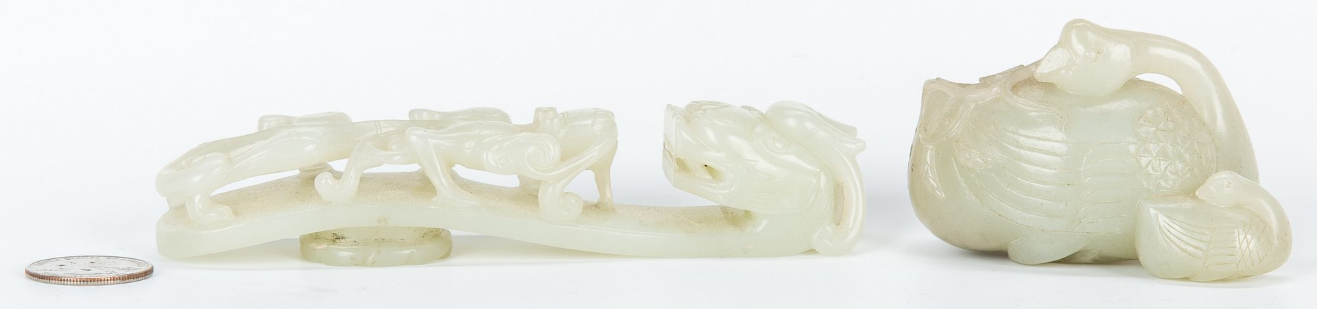 Lot 3: Carved Jade Ducks and Belt Hook