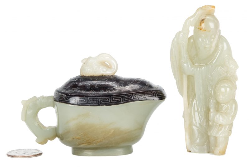 Lot 5: 2 Chinese Carved Jade Items, Libation Cup & Scholars