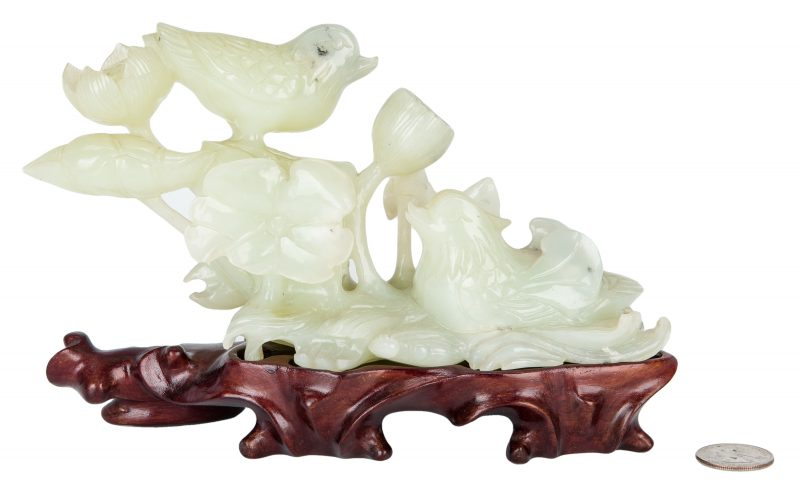 Lot 6: Chinese Carved Jade Bird Figural w/ Stand