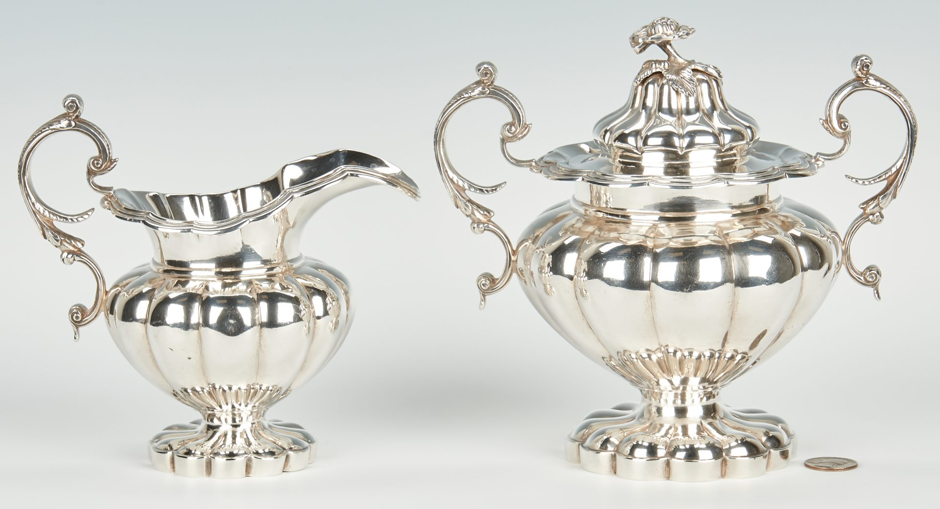 S. & B. Brower New Orleans, Classical coin silver melon form covered sugar bowl and creamer