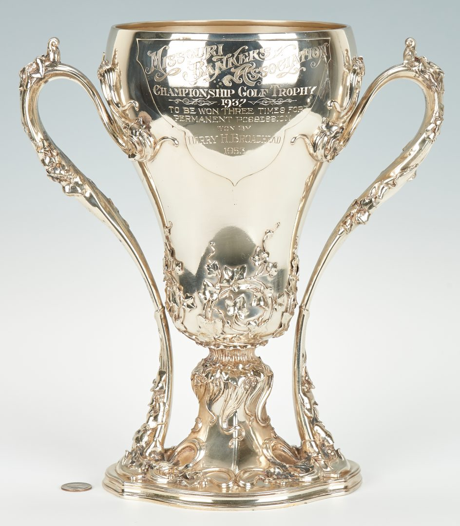 Whiting Art Nouveau sterling silver two-handled presentation trophy or loving cup