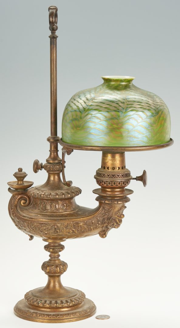 "Bronze ""Aladdin"" or Genie Lamp with iridescent art glass shade, Tiffany"