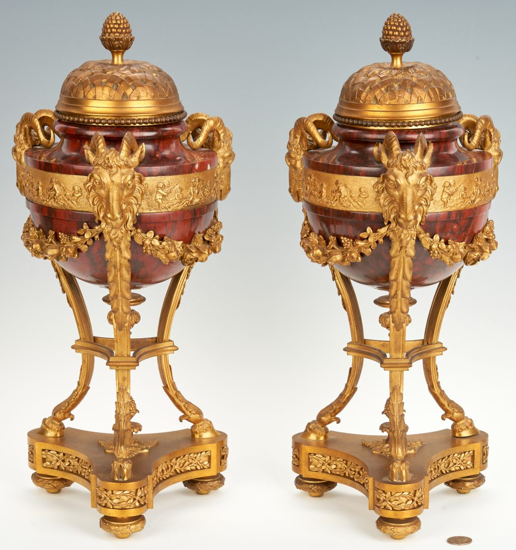 Pair of Neoclassical ormolu mounted red marble or hardstone urns