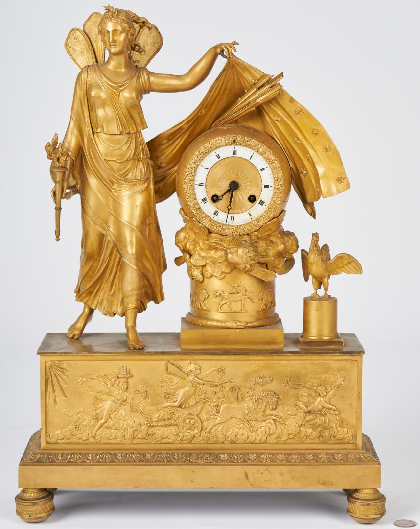 Neoclassical French gilt-bronze figural clock