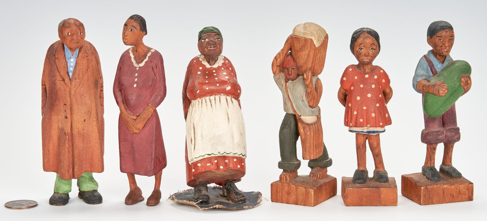 Tom Brown folk art carved and painted figures