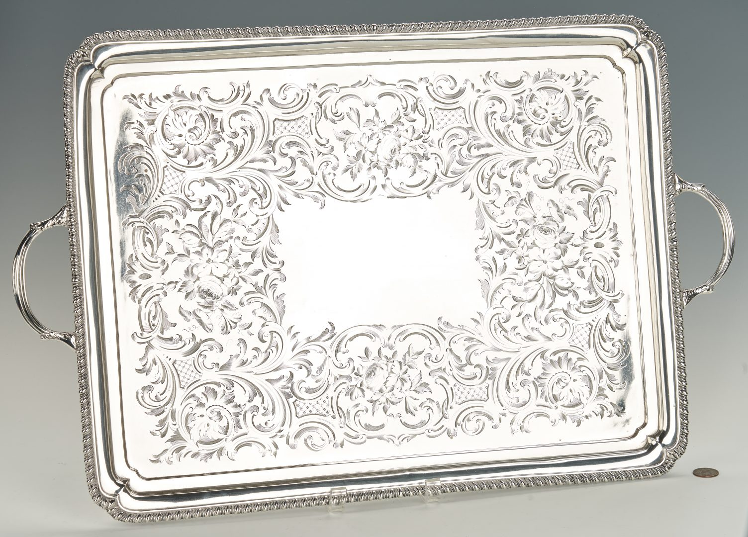 "George III sterling silver tea tray, 17"" x 22"" (26"" including handles)"
