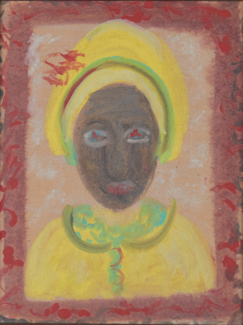 Lot 389: 2 Sybil Gibson Outsider Art Mixed Media Paintings, incl. Portrait