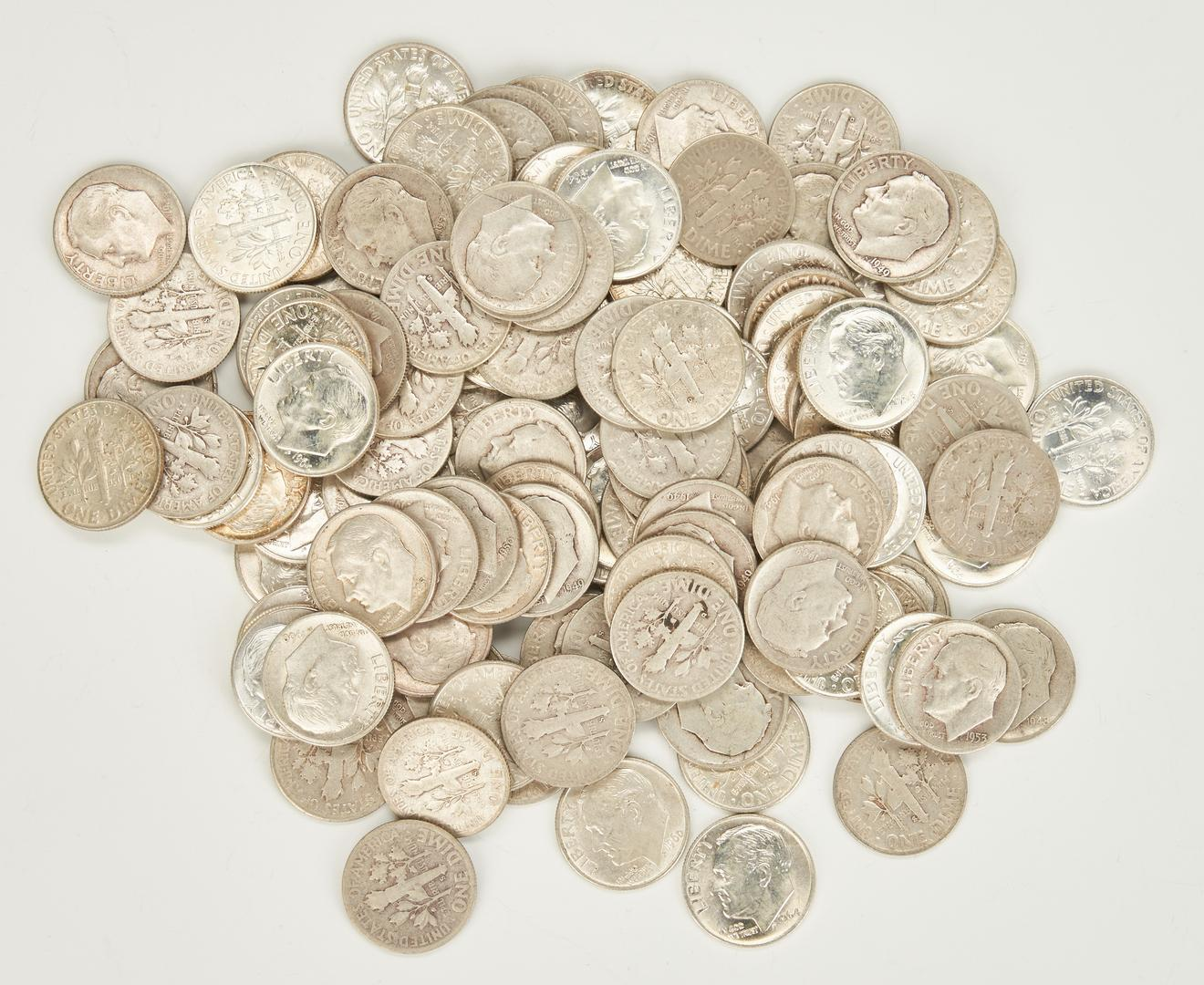 Lot 738: Silver Coin Grouping of 447 items, incl. Dimes, Quarters, and Halves