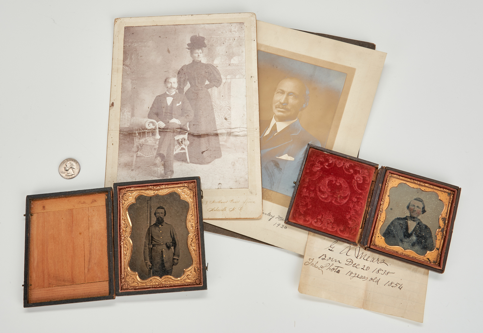 Lot 618: 4 Mears Family Photographic Images, incl. Civil War CSA tintype