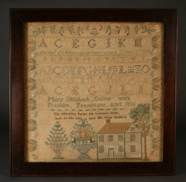 Lot 60A: Exceptional Franklin, Tennessee sampler, 1836