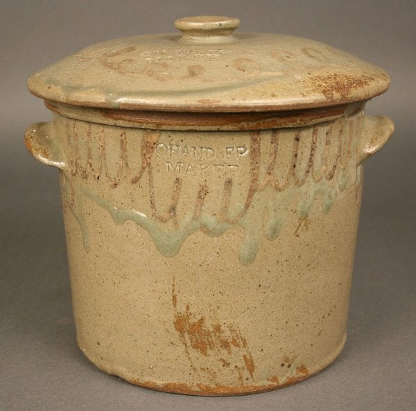 Lot 96: Rare stamped Chandler Edgefield SC jar and lid