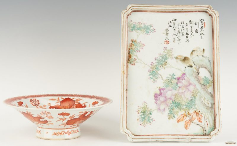 Lot 21: Chinese Famille Rose Tray and Bowl with Bats