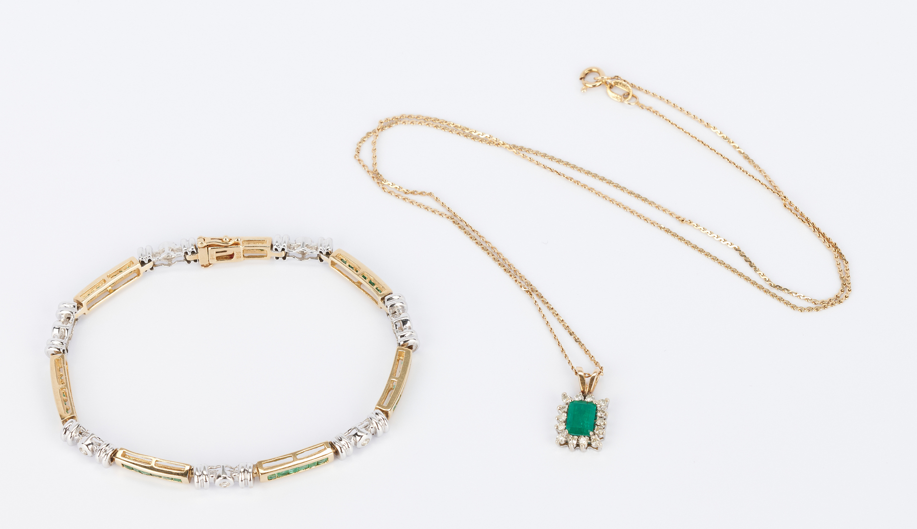 Lot 769: Ladies Diamond and Emerald Bracelet & Pendant w/ Necklace, 3 items