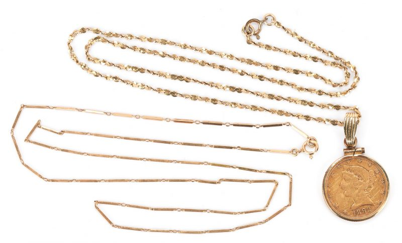 Lot 774: 2 14K Necklaces with 1 Gold Coin Pendant