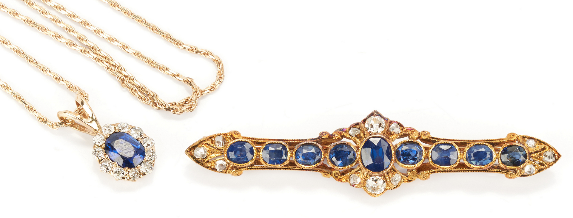 Lot 780: Ladies 14K Sapphire and Diamond Necklace and Pin
