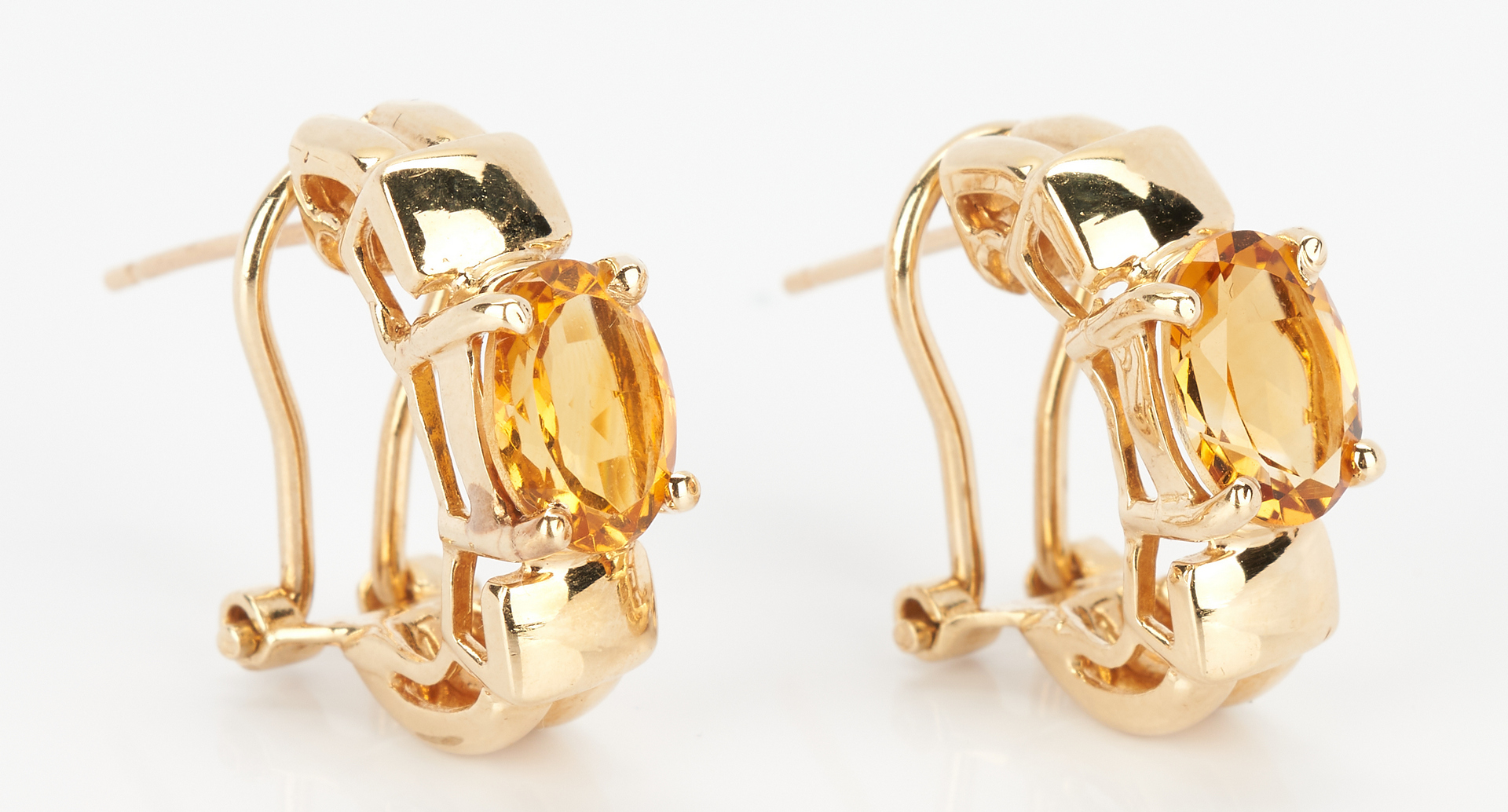 Lot 783: Ladies 14K Gold and Imperial Topaz Earrings