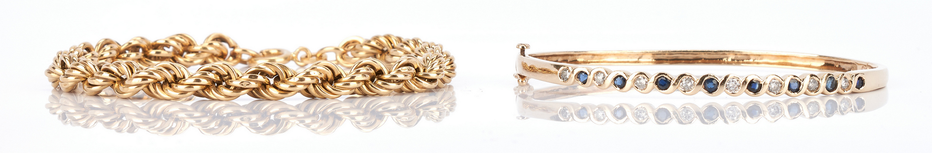 Lot 786: 2 Ladies Gold Bracelets, 10K & 18K