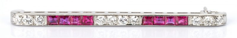 Lot 791: Tiffany & Co. Platinum Diamond and Ruby Brooch