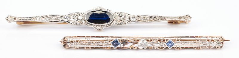 Lot 792: 2 Ladies Gold, Diamond, and Gemstone Brooches