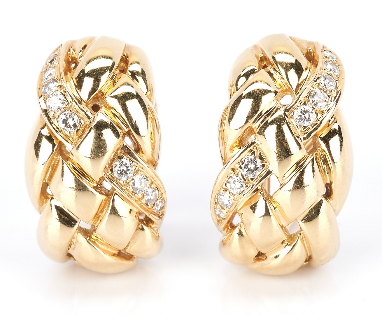 Lot 793: Ladies 14K Gold and Diamond Earrings