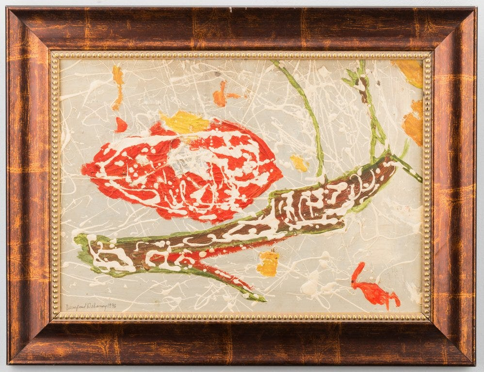 Lot 173: Beauford Delaney Acrylic Abstract Still Life on Board