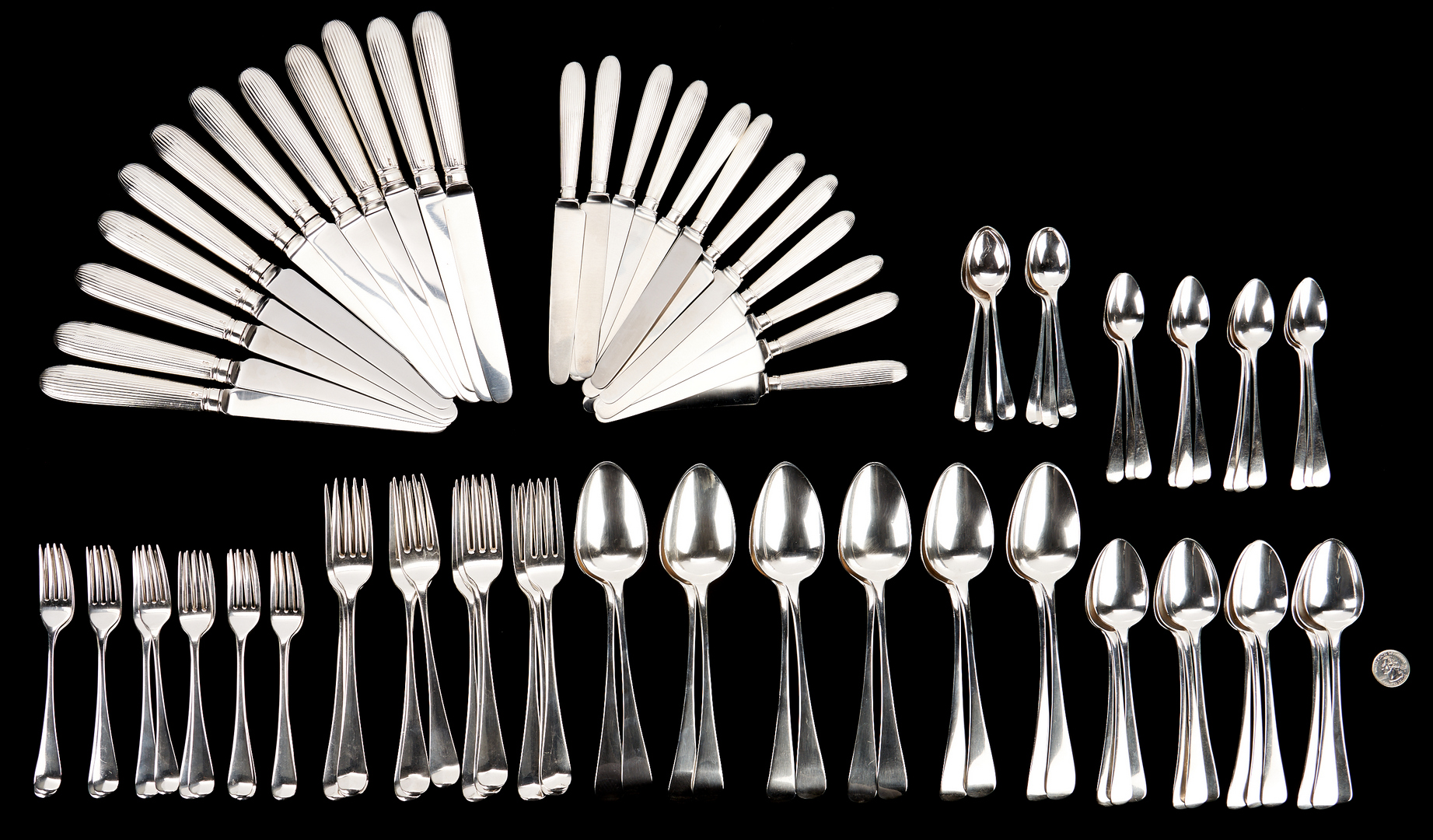 Lot 99: Geo. IlI Sterling Flatware Service for 12, 90 items total