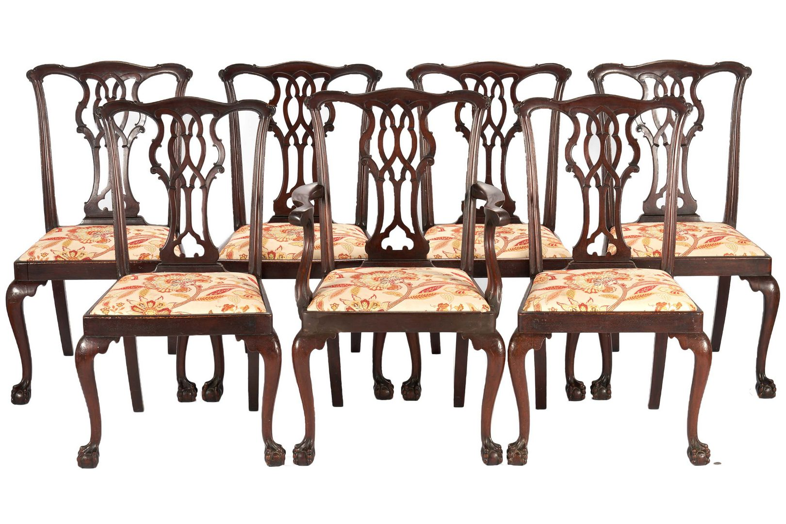 Lot 152: Set of 7 Chippendale Style Carved Mahogany Dining Chairs