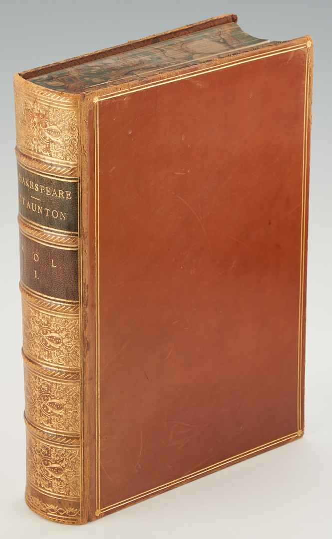 Lot 343: Looking Backward Fore-edge Painted Book, 3 Staunton Shakespeare Vols., 4 items