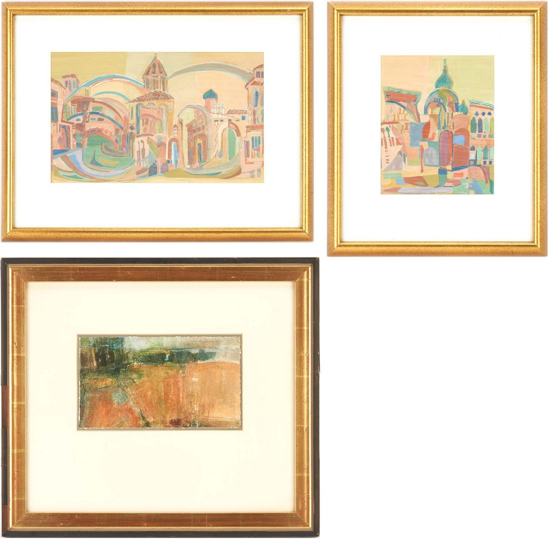 Lot 360: 3 Watercolor Paintings, incl. Helene Glass