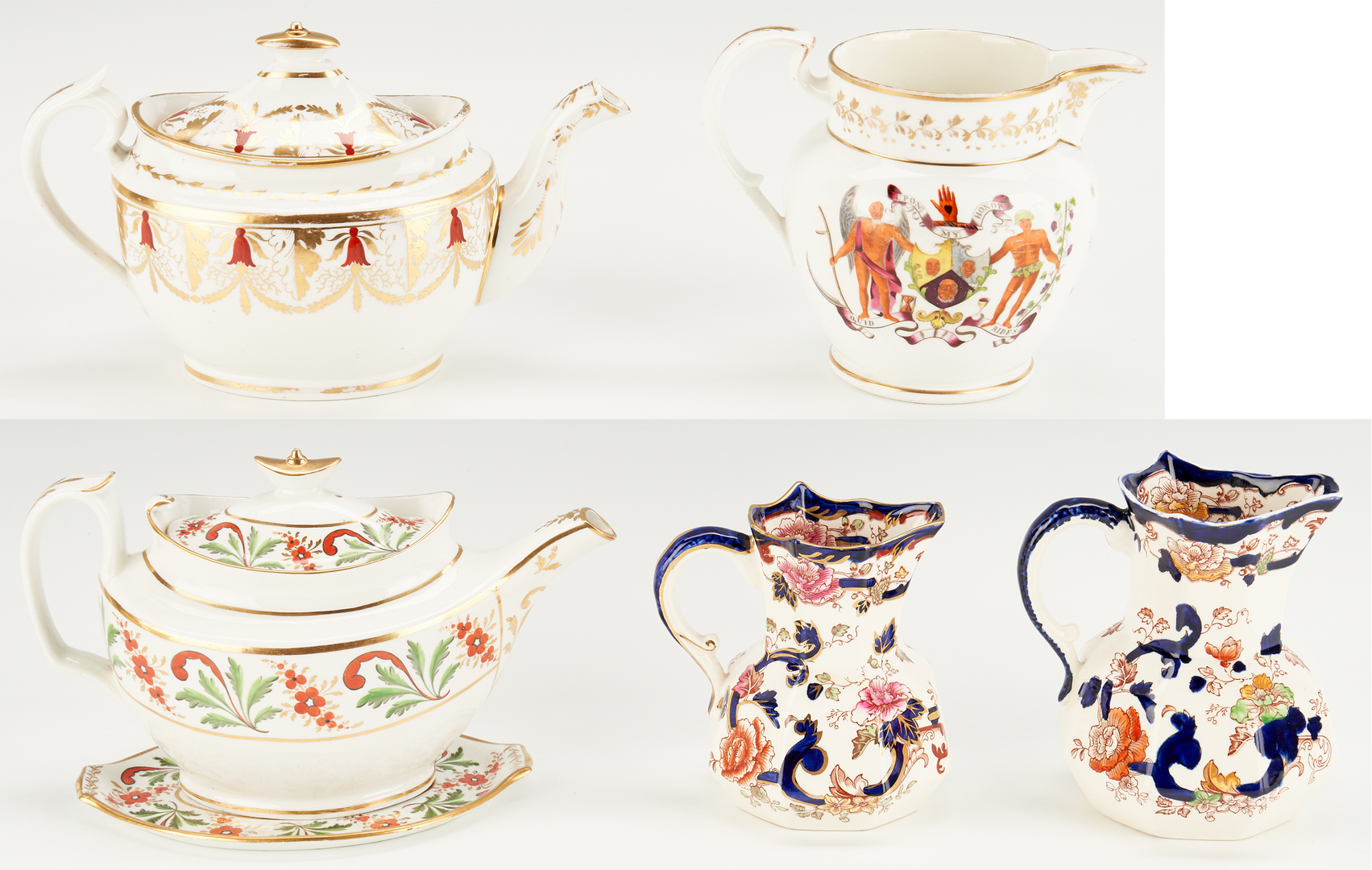 Lot 458: 6 English Ceramic items including Soft Paste Porcelain Teapots and Armorial