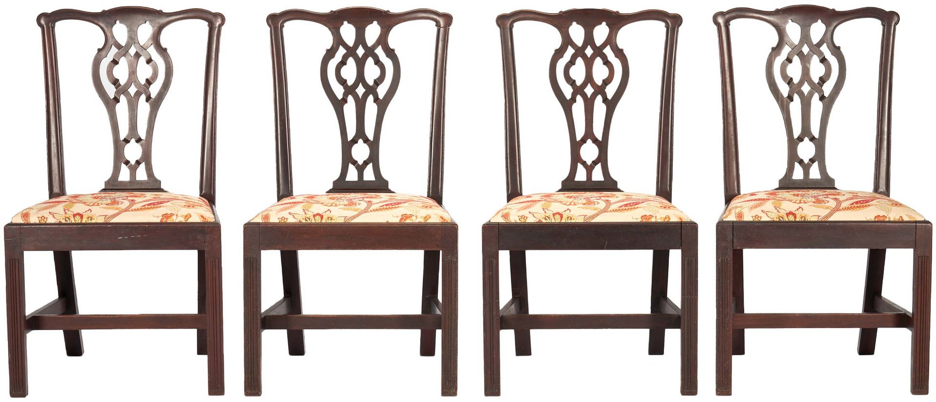 Lot 434: 4 Chippendale Style English Side Chairs