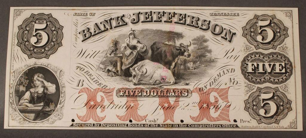 Lot 6: $5 Obsolete Currency Note, Bank of Jefferson, Dandri