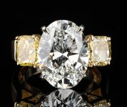 7.32 Oval Diamond, VS1/G & 2 FIY GIA 3-stone Ring Sold $168,000